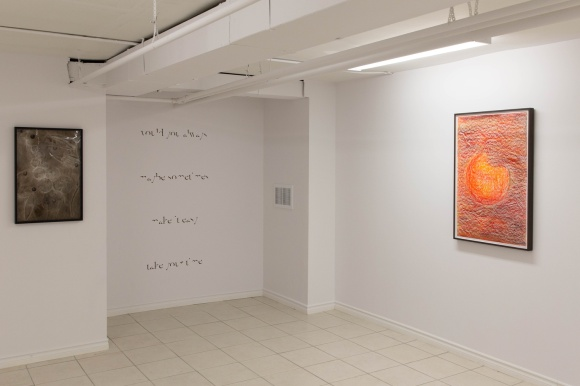 Installation photo of Two Weeks, by John Nyman, and other works in Pits, Seeds.